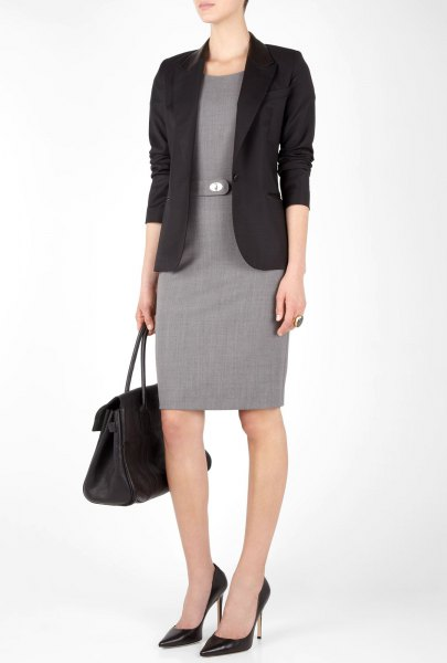 black blazer with knee-length dress with gray belt sheath