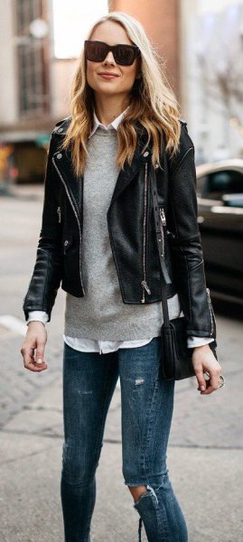 black blazer with gray sweater