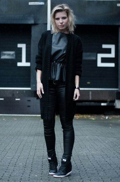 black blazer with gray silk blouse and high leather sneakers