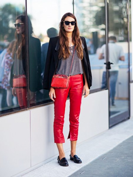 black blazer with gray t-shirt and red leather pants