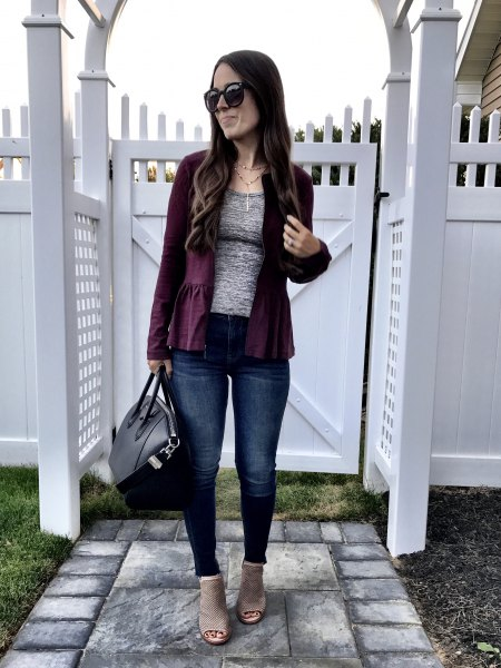 black blazer with a heather gray t-shirt and jeans