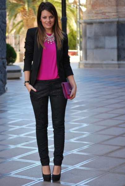 black blazer with pink top and chinos