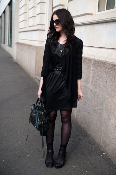 black blazer with leather mini dress with belt