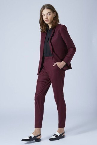 black blazer with matching, slim chinos and leather shoes