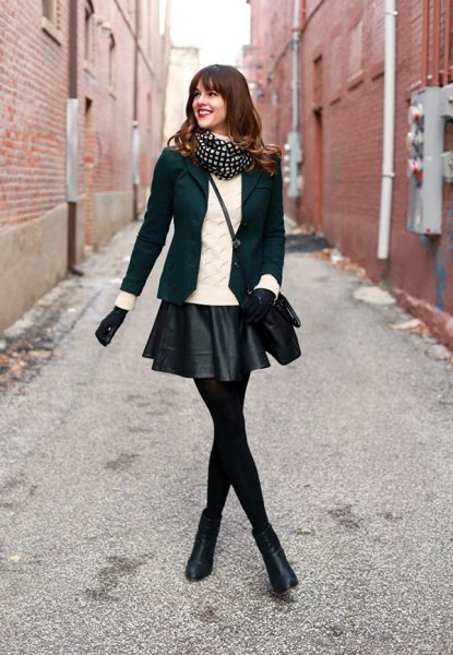 black blazer with mini leather skirt and mini boots