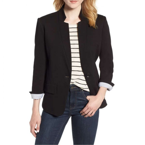 black blazer with light yellow striped t-shirt