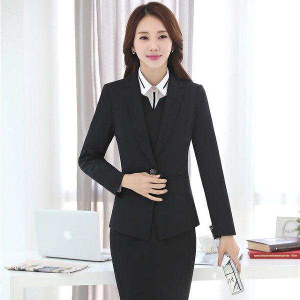 black blazer with pencil skirt and vest with V-neck