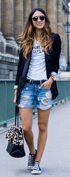 black blazer with printed t-shirt and boyfriend shorts