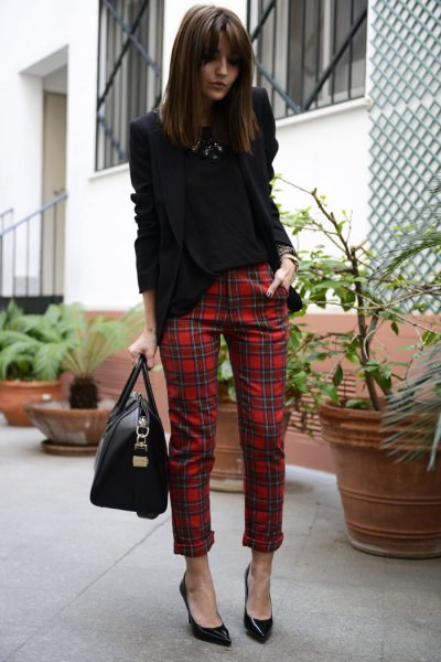 black blazer with red, checked, narrow trousers