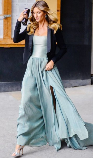 black blazer with silver fit and floor-length dress
