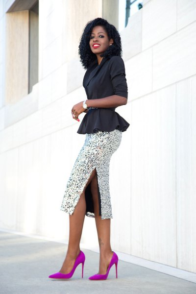 black blazer with a silver, figure-hugging midi skirt with sequins