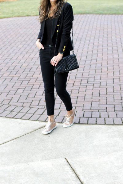 black blazer with skinny jeans and rose gold metallic sneakers