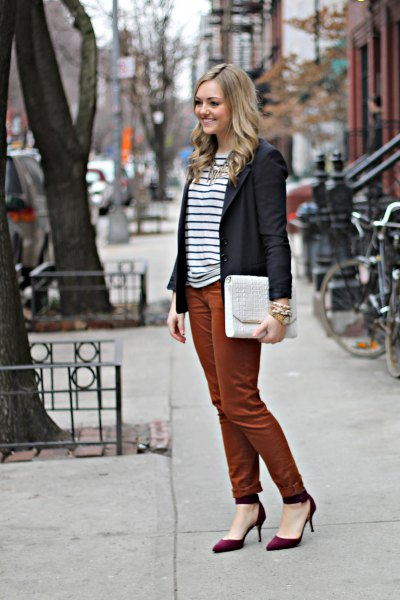 black blazer with striped T-shirt and green chino joggers