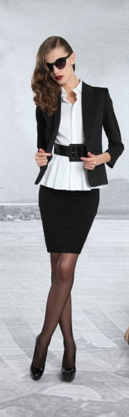 black blazer with white belt blouse and pencil skirt
