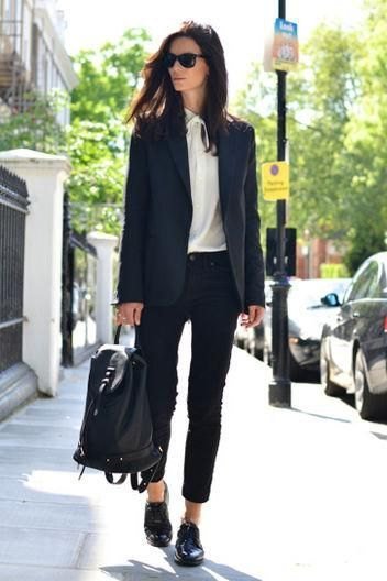 black blazer with white chiffon blouse and goat shoes