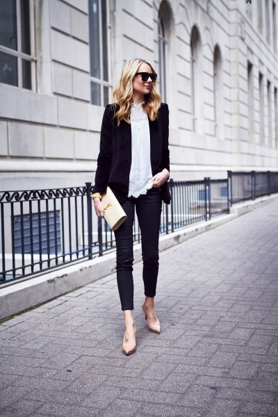 black blazer with white lace blouse and thin velvet jeans