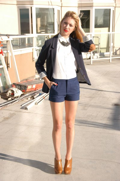black blazer with white shirt and brown leather ankle boots