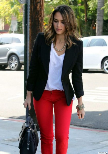 black blazer with white V-neck t-shirt and relaxed fit