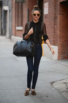 black blouse with dark gray cardigan and flats with leopard print