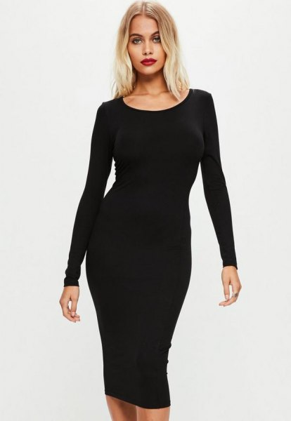 Black long-sleeved midi dress with a boat neckline and open toes