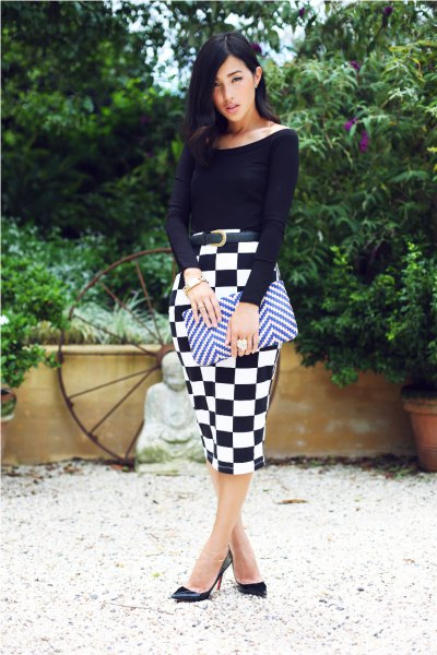 black top with boat neckline and checked midi-checked skirt