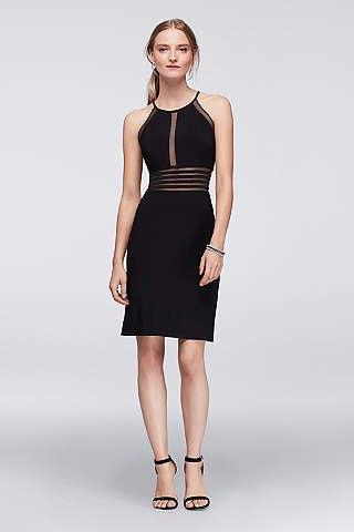 black bodycon dress with transparent stripes