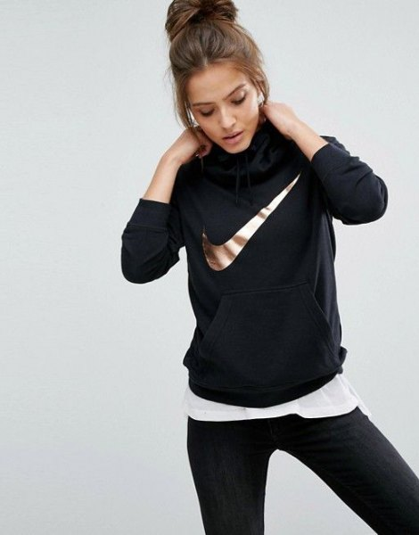 black, heavy sweater with white, oversized t-shirt