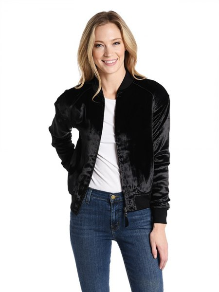 black bomber jacket with white t-shirt with round neckline