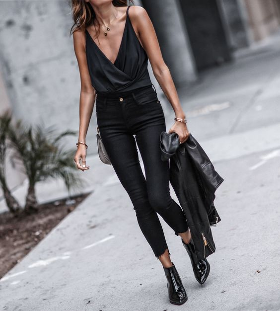 black boots jeans all black