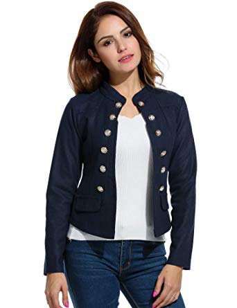 Knit blazer with black button placket and blue skinny jeans