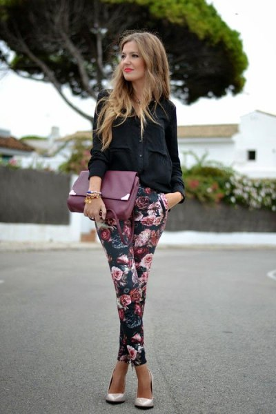black shirt flower pants with buttons