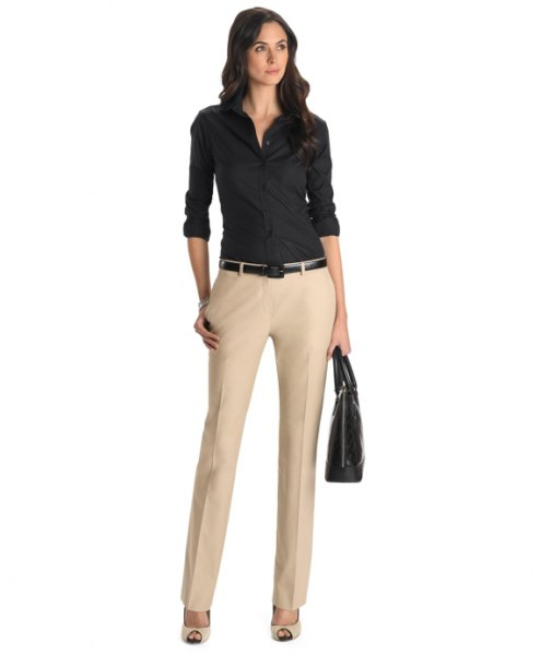 pale pink chinos with a black button