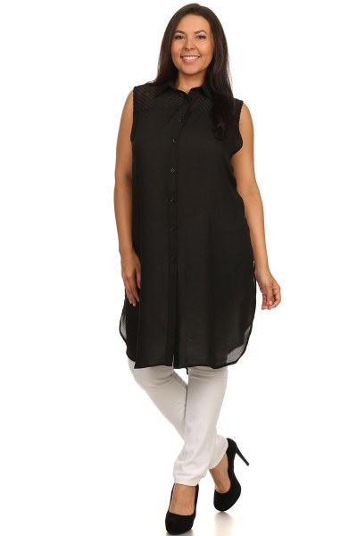 sleeveless chiffon tunic top with black button and ballerinas