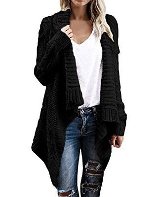 black cable knit scarf sweater with white linen T-shirt with V-neck and ripped jeans