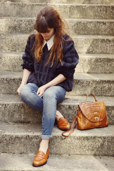 black cable knit sweater with white collar shirt