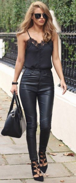 black bodice with high-waisted leather pants