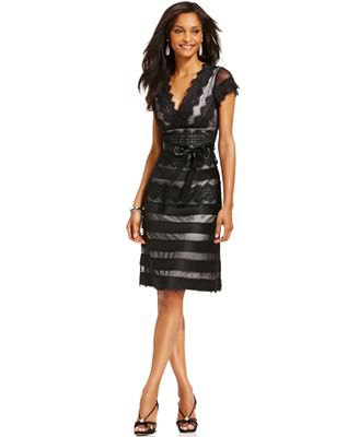 black striped, semi-transparent dress with cap sleeves