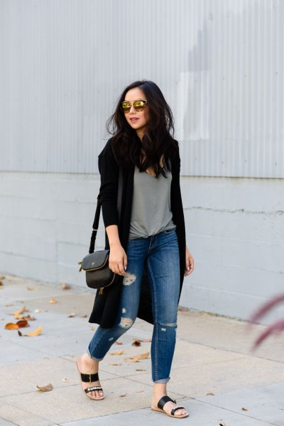 black cardigan gray knotted t-shirt ripped jeans