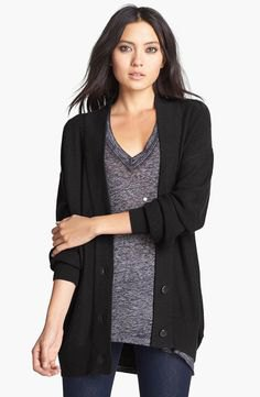 black cardigan oversized gray knitted sweater with V-neck