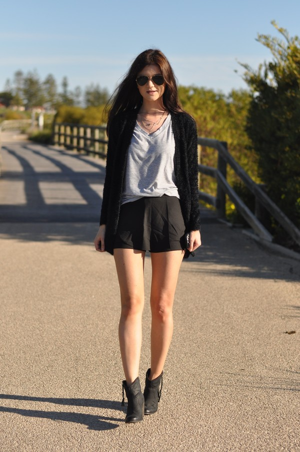 black cardigan sweater skort