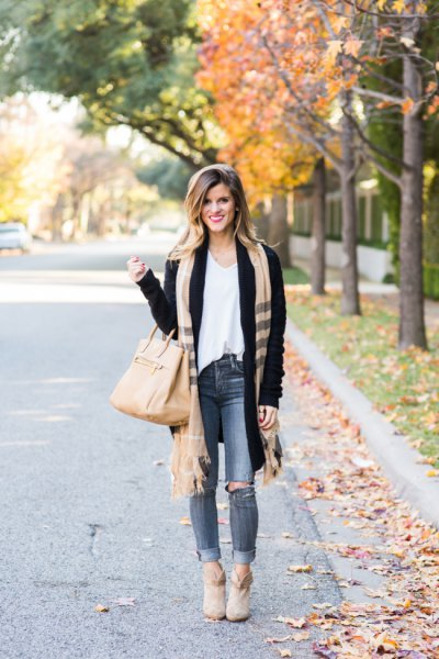 black cardigan white vest top camel fringed scarf