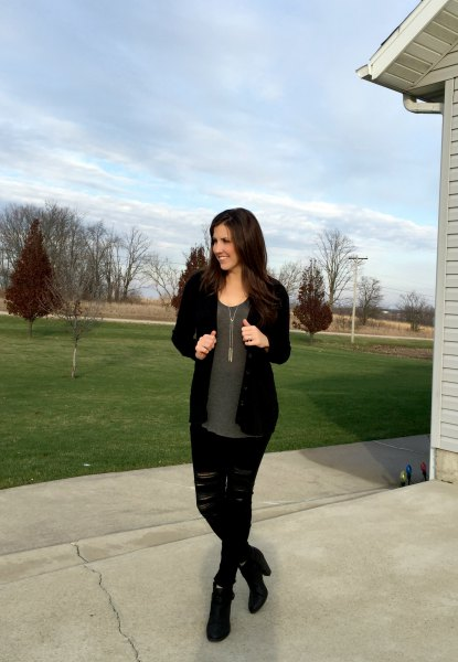black cardigan with gray chiffon blouse and ripped jeans