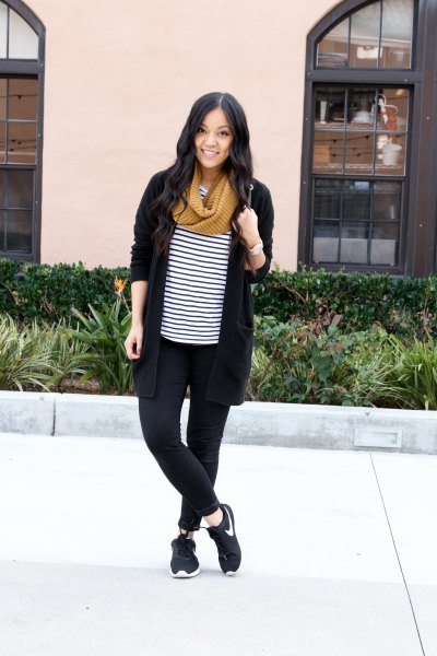 black cardigan with striped t-shirt and hiking boots