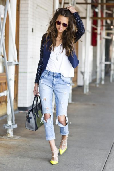 black cardigan with white t-shirt with scoop neckline and really ripped boyfriend jeans