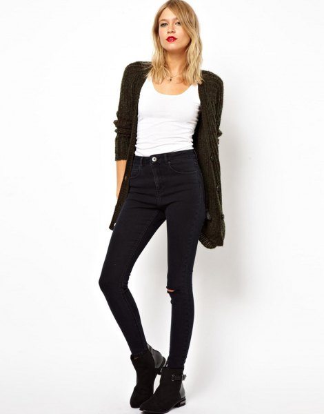 black cardigan with white tank top and high jeans