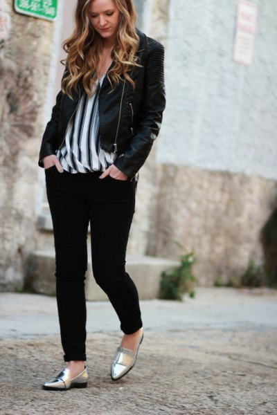 black casual blazer with vertically striped chiffon blouse and metallic slippers
