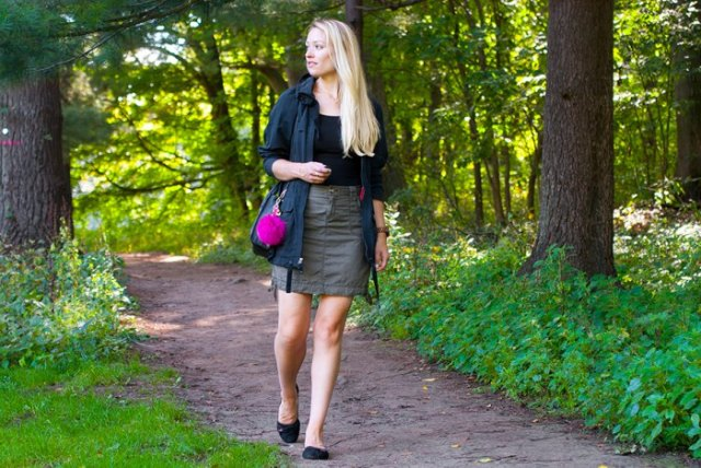 black casual jacket with gray mini skirt