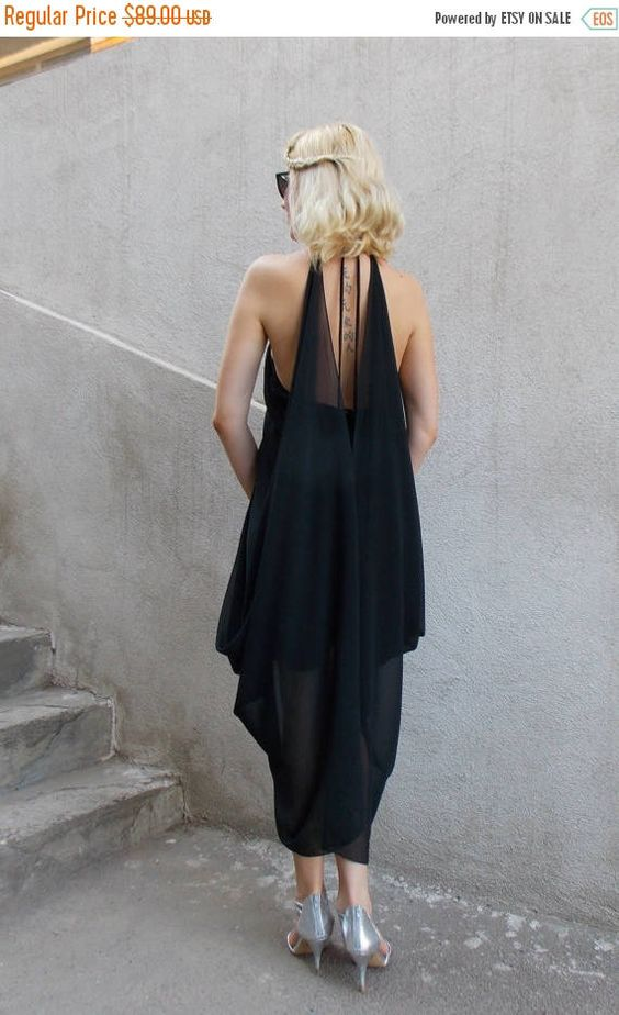 black chiffon dress backless