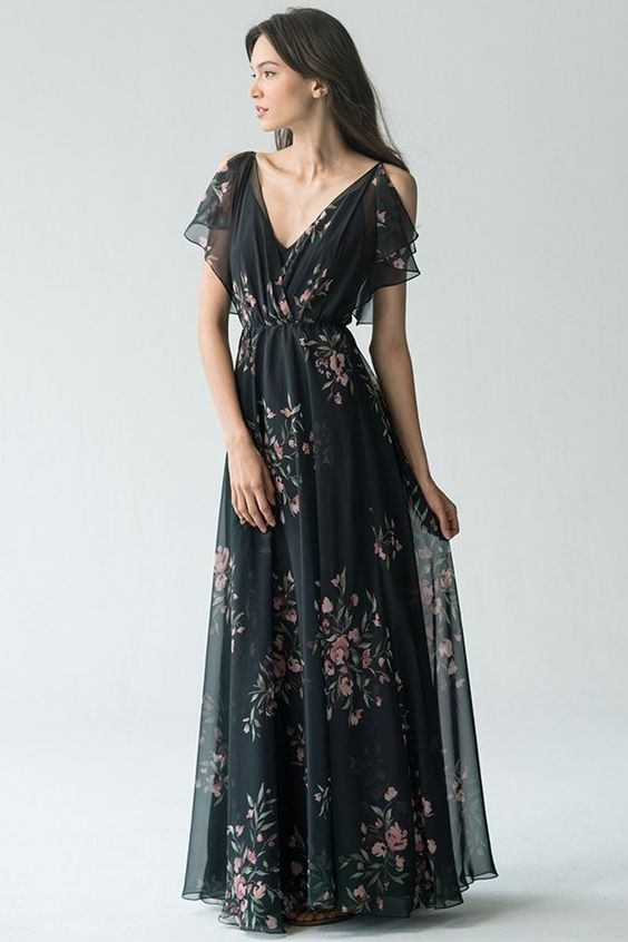 black chiffon dress with floral pattern