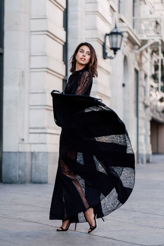 black chiffon dress long lace